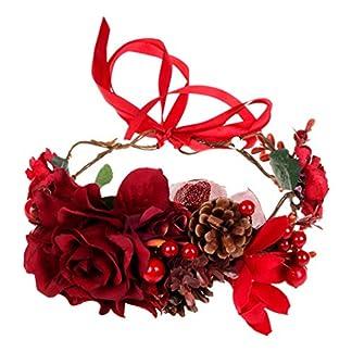 Lurrose diadema floral rosa corona de pelo de navidad diadema corona diadema nupcial guirnalda para fiesta festival boda