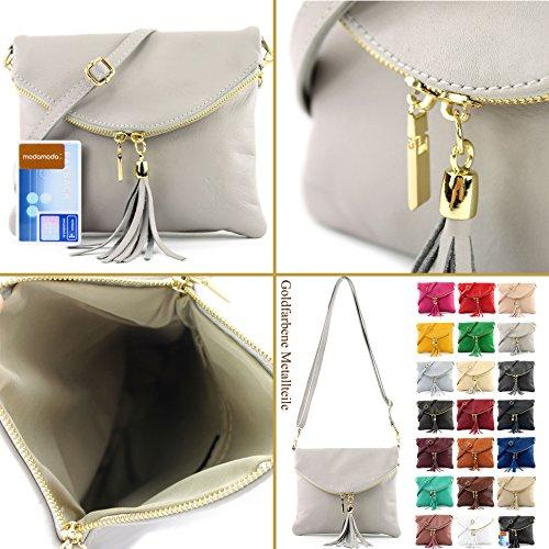 borsa di pelle ital. pochette pochette borsa tracolla Ragazze T139 piccola pelletteria T139A Pink
