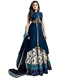 Queen Of India Women's Gown Latest Party Wear Designer Cotton Embroidery Semi Stitched Free Size Salwar Suit Dress...