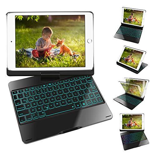 iPad 9.7 Tastatur mit Fall,7 Farbe Hintergrundbeleuchtung 360°drehbare Kabellos Tastatur Schutzhülle mit Automatische Schlaf/Aufwach-Funktion,Englisch,Schwarz -