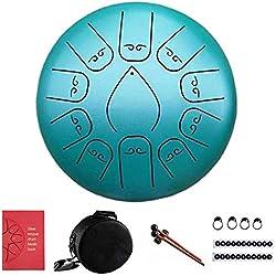 zhichu985 Tambor metálico de lengüetas acero 12 pulgadas 11 notas, steel tongue drum instrumentos musicales, Tambores metálicos de Trinidad y Tobago con la bolsa de libros de música Mallets