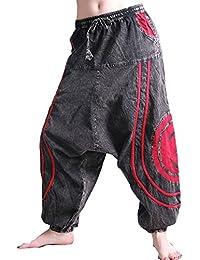 Kunst und Magie OM Unisex Psy Baggy Pants Hippie Hose Goa Baumwoll Tanzhose Stonewashed