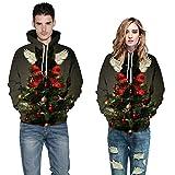SEWORLD Weihnachten Sweatshirt Kapuzenpulli im Freien Damen Langarm Warmer mit Kapuze Sport Lose Drucken Outwear Pullover Tops Bluse(Grün5,EU-44/CN-S/M)