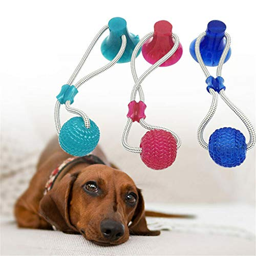 Chew Toys for Dogs Multifunction Pet Molar Toy Soft Texture Great Elasticity Durable Dog Tug Rope Ball Toy with Suction Cup Non Toxic Safe Toy for All Types of Dogs (Blue)