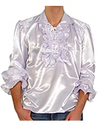 Frederic - Shirt white Men's Gothic Ruffle Shirt Satin Shirt f Party Costume Everyday - X-Large