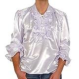 Satinhemd Rüschenhemd Hemd Gothic Gr. XL 1436 Weiss