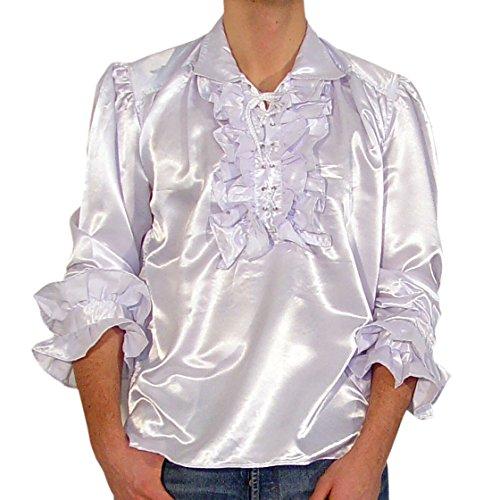 Satinhemd Rüschenhemd Hemd Gothic Gr. S-XXL, weiss, schwarz,blau, weinrot Weiß