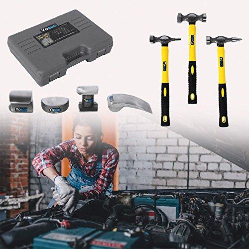 7-tlg Ausbeulwerkzeug Ausbeulhammer Ausbeulgarnitur Reparatur Amboss Set (Dolly Hammer)