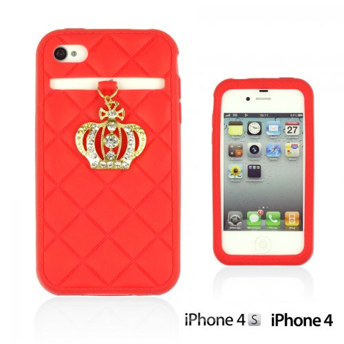 OnlineBestDigital - Crown Style Soft Silicone Case / Housse pour Apple iPhone 4S / Apple iPhone 4 - Jaune Rouge