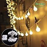 B-right Catena Luminosa Lucine Decorative a Batteria, 40 Palle 4.5m/14.8ft, Lucine LED per Interno/Esterno, Giardino, Natale, Feste, Matrimonio ECC.(Bianco Caldo)