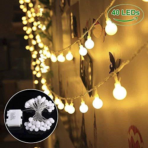 B-right Guirnalda Luces, Guirnaldas Luces Decoración 4.5M 40 LED Blanco Cálido, 8 Modos de Luces, a Pilas, Resistente al Agua, Guirnalda Luces Exterior/Interior Decoración para Jardín, Casa, Árbol de Navidad, Fiesta, Boda, Cumpleaños,etc
