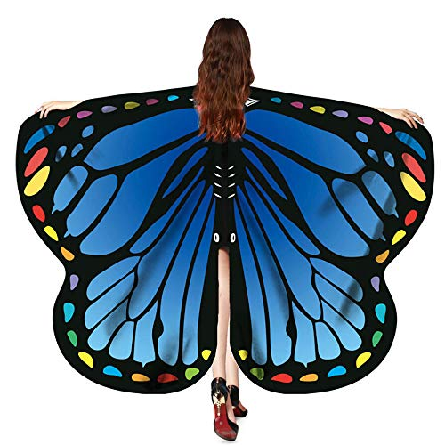 TEBAISE Frauen Karneval Cosplay Wings Flügel Butterfly Schmetterling Schals Damen Parties Nymph Pixie Poncho Kostümzubehör Fasnacht Fasching Kostüm Schmetterling Poncho Schal Wrap Umhang