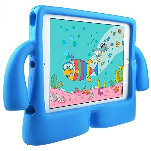 DMG iPad Cover for Kids, Shockproof Lightweight Protective Back Cover Stand Case for Apple iPad 2018 9.7 Inch (Elephant - Blue)