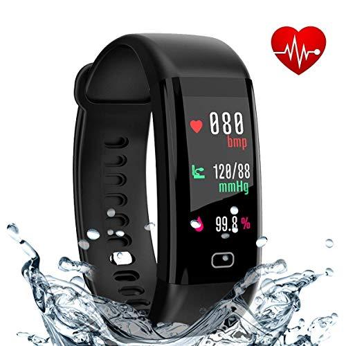 r eway Fitness-Uhr mit Farbbildschirm Herzfrequenz und Blutdruck Monitor Aktivität Tracker IP68 wasserdicht, Schlaf-Monitor, Bluetooth 4.0, kompatibel mit Android und IOS ()