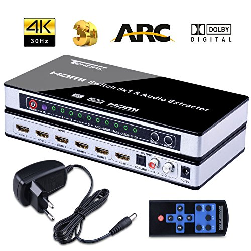 HDMI Switch, Tendak 4K HDMI Verteiler 5 Port HDMI Switcher mit Fernbedienung 5x1 HDMI Schalter Splitter Switches mit SPDIF und L / R Audio Extractor für PS3, PS4, Bluray Player, Virgin box, Game box and More (Hdmi-switch Universal-fernbedienung)