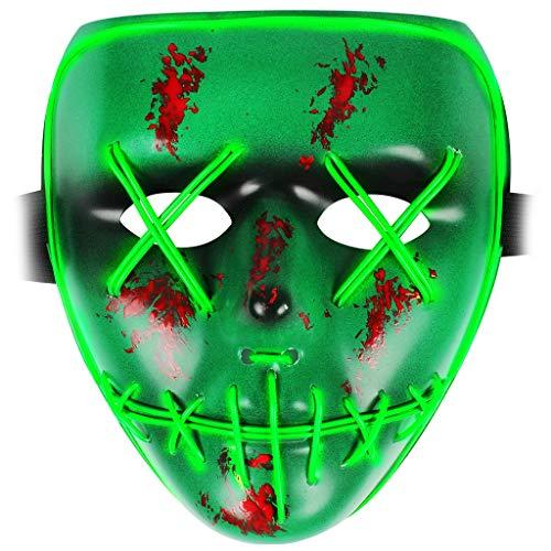 OWUDE LED Leuchten Maske, EL Draht Glühende Maske Rave Scary Gesichtsmaske für Rollenspiele Halloween Party Cosplay Kostüm Requisiten (grün)