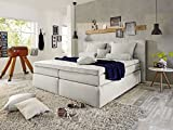 IMPERIUM Boxspringbett Hotelbett Bett amerikanisches Bett 7-Zonen Tonnentaschenfederkern 180 x 200 cm Härtegrad 3 silver