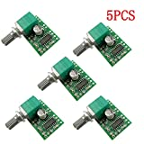 Aihasd Set of 5PCS Handy Digital Stereo Amplifier Super Mini PAM8403 5 V Digital Amplifier Board 3 W + 3 W DC 5 V Audio Amplifier Power Amp Module