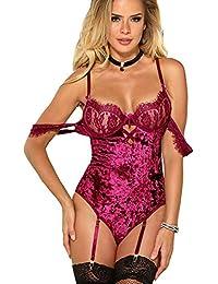 MarysGift Women Ladies Suspender Belt Teddy Bodysuit Sexy Lingerie Sets  Leotard Teddies Pole Dance Plus Size f1a53f91a