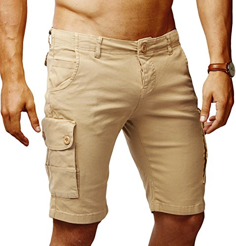 LEIF NELSON Herren Cargo Hose Shorts Sommer Kurze Hose Chino Bermuda Stretch Slim Fit LN1345; W32; Camel