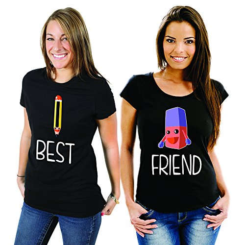 Coppia Di T Shirt Magliette You And Me Best Friend Matite Gomma Nere