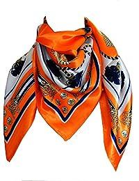 Foulard carré 85 x 85 motifs pompons et ancres rose fushia ou orange - scarf -