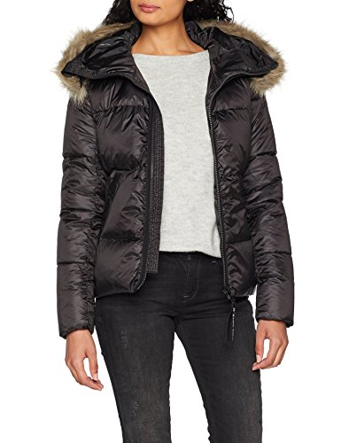 g star whistler damen G-STAR RAW Damen Jacke Whistler HDD Fx Fur Qlt Slim JKT Wmn Pl, Schwarz (Dk Black 6484), X-Small