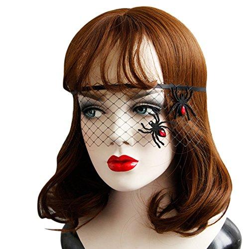 Brave Pioneer Halloween Damen Schwarze Schleier Netz Maske Reizvoll Stirnband Haarschmuck Spitze Halbe Maske Kostüm Gotik Dress Up Cosplay Abendkleid ()