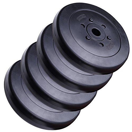 ScSPORTS 40 kg Hantelscheiben-Set Kunststoff 4 x 10 kg Gewichte 30/31 mm Bohrung - Leise und bodenschonend für Zuhause
