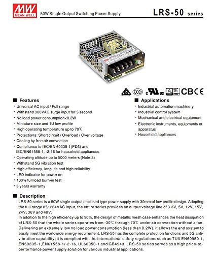 Dimensioni: 99 x 82 x 30 mm Alimentatore Mean Well 50W 12V Mean Well LRS-50-12 a voltaggio costante ideale per Strisce LED
