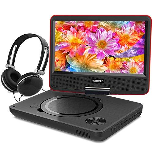 """WONNIE 9,5"""" Lecteur DVD portable avec un écran rotatif 270°, Carte SD et prise USB avec charge directe Formats / RMVB / AVI / MP3 / JPEG, Parfait pour Enfants (Rouge)"""