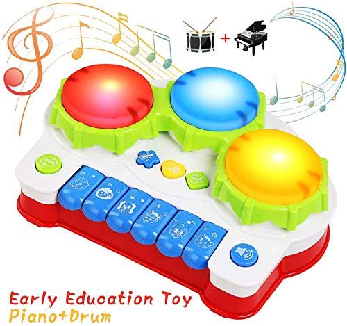 BelleStyle Baby Spielzeug Klavier, Trommel Musikspielzeug, Keyboard Kinderpiano mit Lichter, Früherziehung Musikalische Geschenk für Jungen und Mädchen ab 1 2 3 Jahre (Rot)