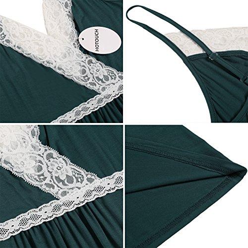 HOTOUCH Donna Spalline Sottili Scollo V Camicia da Notte Pigiama Vestaglia Type1-Vert Foncé