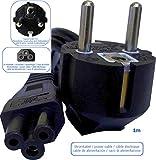 3-Pol / 3-Pin Stromkabel/Netzkabel Schuko mit Erdung (Stecker Typ-E+F [CEE 7/7] zu C6 ['Kleeblatt-Form') geeignet für Netzteile, Laptop, Notebook, Monitor u.a, 1m, schwarz