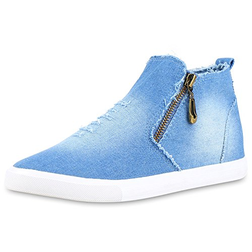 Damen Sneakers High Denim Turnschuhe Zipper Jeans Optik Hellblau Weiss