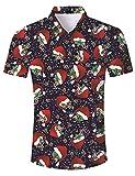 AIDEAONE Männer Floral Weihnachten Hemd Kurzarm Knopf Hemd Mode Plus Größe