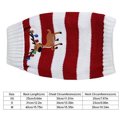 Fdit 1 Stück Haustier Hund Rosa Warme Strickwaren Pullover Teddy Weihnachten Glocke Deer Mantel Kleidung für Winter Strickwaren Entzückende Tragen Halloween Weihnachten Kostüme(S-Rot)