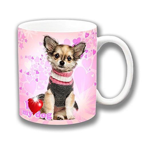 Cushions Corner Sehr Affe Langes Haar Chihuahua Welpe Pullover 'I Love My Hund' Keramik Tasse für Tee und Kaffee Ideale Geschenkidee -