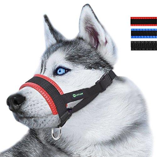 RockPet Maulkorb aus Nylon um Hunde vom Beisen, Bellen und Kauen abzuhalten, anpassbare Schlinge (L,Rot)