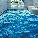 Mbwlkj Modernes Kundenspezifisches Fußboden-Wandbild 3D Hd-Tiefe Blaue Meereswellen Kräuseln Rutschfeste Wasserdichte Verdickte Hintergrund Der Tapete 3D-250cmx175cm