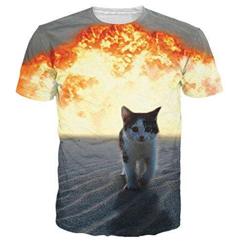 uideazone Unisex 3D-Druck Lustige Herren Kurzarm T-Shirts Bunt UK S-L cat2
