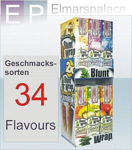 Blunt Wrap platinum Double / Juicy Wrap Double 50X (Total 100 Stück). Stellen Sie sich aus unseren 34 verschiedenen Geschmacksvarianten Ihr eigenes Wunschpaket zusammen. Diesen Service gibt es nur bei Elmarspalace!