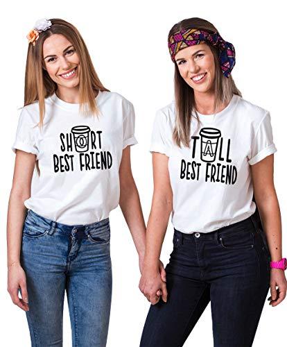 für 2 Mädchen Sister T-Shirt Freundschafts T-Shirt Beste Freunde T-Shirt für 2 Best Friends Geschenk Sommer Oberteil Kurzarm Baumwolle Schwarz Weiß 2 Stücke ()