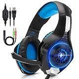 QKa Auriculares para Juegos de PC para PS4, Xbox One, VR, Sonido Envolvente, Auriculares con micrófono de Aislamiento de Ruido con luz LED, también para computadora portátil Tablet Mac,Blue