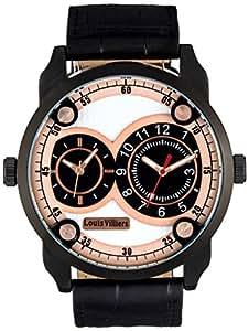 Louis Villiers - LVAG3736-4 - Montre Homme - Quartz Analogique - Cadran Blanc - Bracelet Cuir Noir