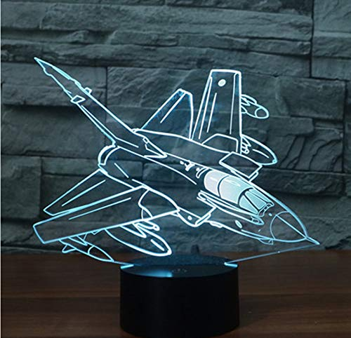 luanxiaonie Optische Täuschung 3D Led Nachtlicht Hang Missile Bomber Kommen Mit 7 Farben Light Plane Aircraft Für Home Decoration Lampe Amazing Visualization -