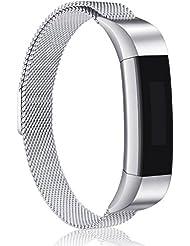 Fitbit Alta HR und Alta Armband, Mornex Milanese Edelstahlband Sport Uhrenarmband Ersatzarmband für Fitbit Alta HR Band mit Magnetverriegelung