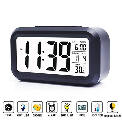 Reloj Despertador Digital Electrico Xagoo Reloj Repeticion Activada Por Luz Snooze Sensor de Luz Tiempo Fecha Temperatura