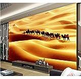 Tapete Für Wände 3D Stereoskopische Seidenstraße Wüste Kamel 3D Wandbild Tapete Fototapete Für Schlafzimmer, 430X300Cm (169.29X118.11 In)