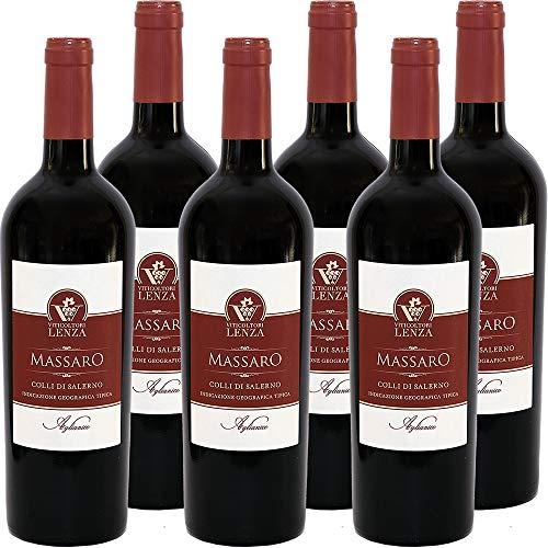 Aglianico IGP Colli di Salerno Massaro | Viticoltori Lenza | Vino Rosso della Campania | Confezione da 6 Bottiglie da 75 Cl | Idea Regalo
